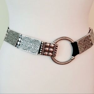 Chico's Silver Tone Hammered Metal Belt